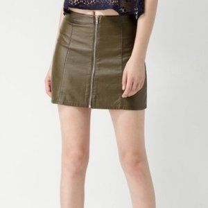 Forever 21 Faux Leather Olive Mini Skirt Sz Small